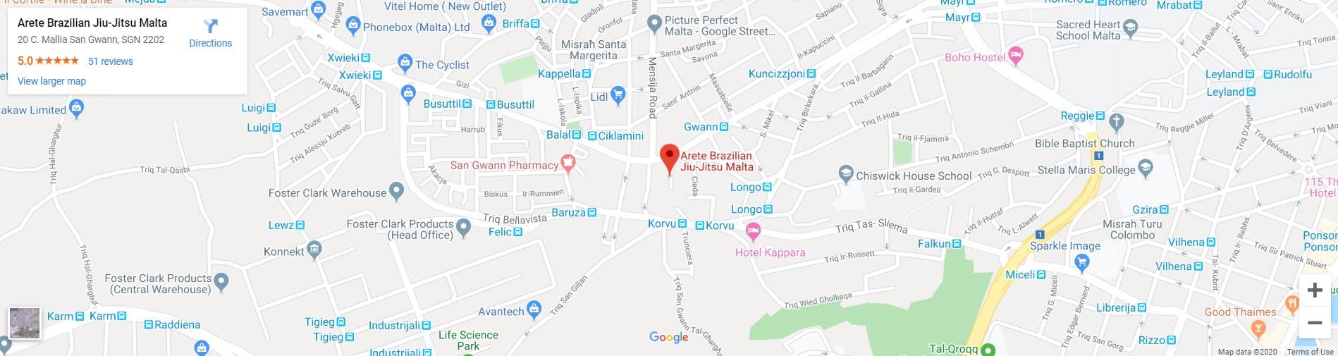 Where to find Arete Brazilian Jiu Jitsu Malta